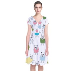 Sheep Cartoon Colorful Short Sleeve Front Wrap Dress