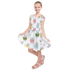 Sheep Cartoon Colorful Kids  Short Sleeve Dress