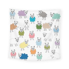 Sheep Cartoon Colorful Square Tapestry (small)