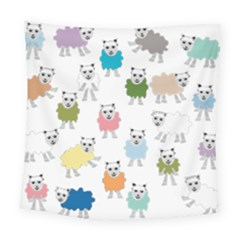Sheep Cartoon Colorful Square Tapestry (large)