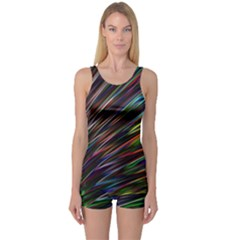 Texture Colorful Abstract Pattern One Piece Boyleg Swimsuit