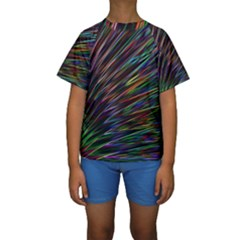 Texture Colorful Abstract Pattern Kids  Short Sleeve Swimwear