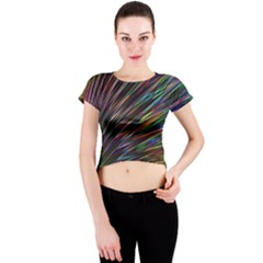 Texture Colorful Abstract Pattern Crew Neck Crop Top