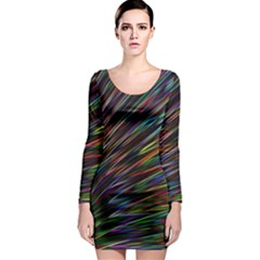 Texture Colorful Abstract Pattern Long Sleeve Bodycon Dress