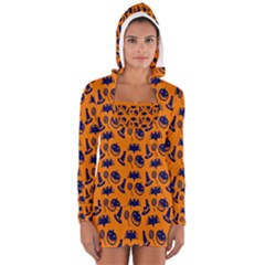 Witch Hat Pumpkin Candy Helloween Blue Orange Women s Long Sleeve Hooded T Shirt