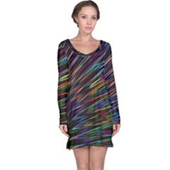 Texture Colorful Abstract Pattern Long Sleeve Nightdress