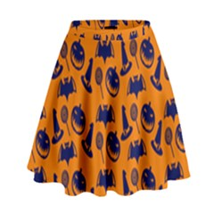 Witch Hat Pumpkin Candy Helloween Blue Orange High Waist Skirt