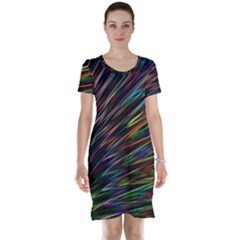 Texture Colorful Abstract Pattern Short Sleeve Nightdress