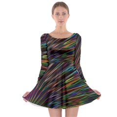 Texture Colorful Abstract Pattern Long Sleeve Skater Dress