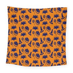 Witch Hat Pumpkin Candy Helloween Blue Orange Square Tapestry (large)