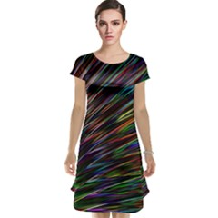 Texture Colorful Abstract Pattern Cap Sleeve Nightdress