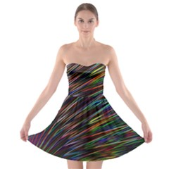 Texture Colorful Abstract Pattern Strapless Bra Top Dress