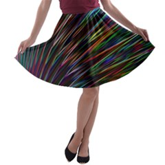 Texture Colorful Abstract Pattern A Line Skater Skirt