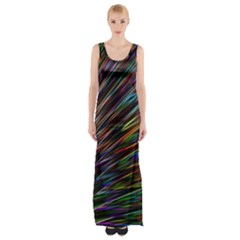 Texture Colorful Abstract Pattern Maxi Thigh Split Dress