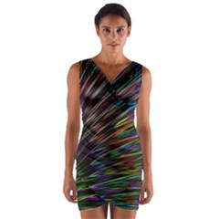 Texture Colorful Abstract Pattern Wrap Front Bodycon Dress