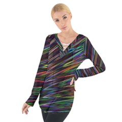 Texture Colorful Abstract Pattern Women s Tie Up Tee