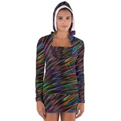 Texture Colorful Abstract Pattern Women s Long Sleeve Hooded T Shirt