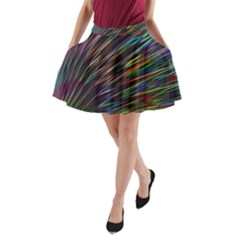 Texture Colorful Abstract Pattern A Line Pocket Skirt