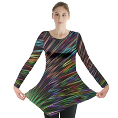 Texture Colorful Abstract Pattern Long Sleeve Tunic