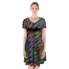 Texture Colorful Abstract Pattern Short Sleeve V-neck Flare Dress