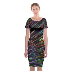 Texture Colorful Abstract Pattern Classic Short Sleeve Midi Dress