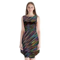 Texture Colorful Abstract Pattern Sleeveless Chiffon Dress