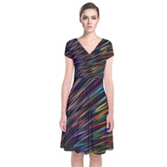 Texture Colorful Abstract Pattern Short Sleeve Front Wrap Dress