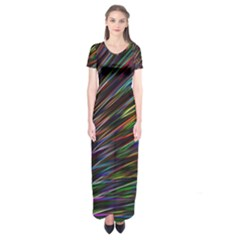 Texture Colorful Abstract Pattern Short Sleeve Maxi Dress