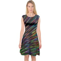 Texture Colorful Abstract Pattern Capsleeve Midi Dress