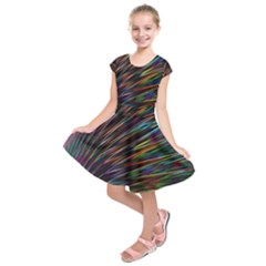 Texture Colorful Abstract Pattern Kids  Short Sleeve Dress