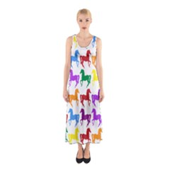 Colorful Horse Background Wallpaper Sleeveless Maxi Dress