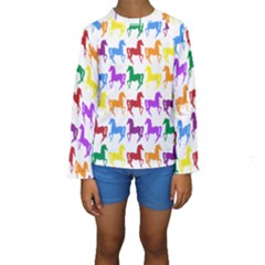 Colorful Horse Background Wallpaper Kids  Long Sleeve Swimwear