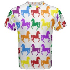 Colorful Horse Background Wallpaper Men s Cotton Tee
