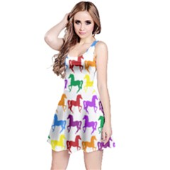 Colorful Horse Background Wallpaper Reversible Sleeveless Dress