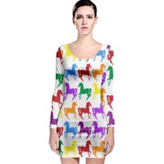 Colorful Horse Background Wallpaper Long Sleeve Bodycon Dress
