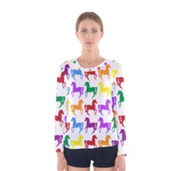 Colorful Horse Background Wallpaper Women s Long Sleeve Tee