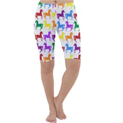 Colorful Horse Background Wallpaper Cropped Leggings