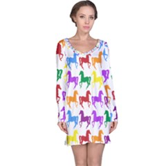 Colorful Horse Background Wallpaper Long Sleeve Nightdress