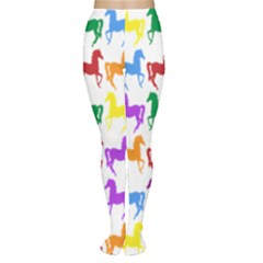 Colorful Horse Background Wallpaper Women s Tights