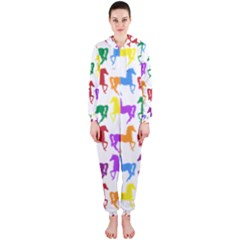 Colorful Horse Background Wallpaper Hooded Jumpsuit (ladies)