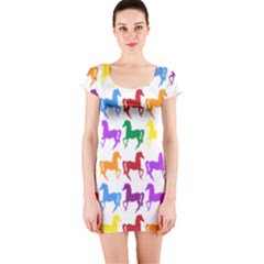 Colorful Horse Background Wallpaper Short Sleeve Bodycon Dress