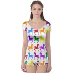 Colorful Horse Background Wallpaper Boyleg Leotard
