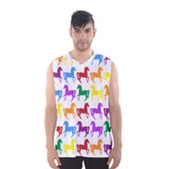 Colorful Horse Background Wallpaper Men s Basketball Tank Top