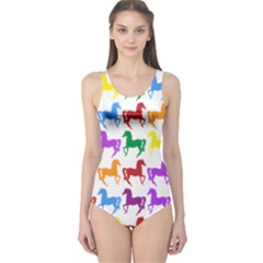 Colorful Horse Background Wallpaper One Piece Swimsuit