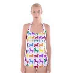 Colorful Horse Background Wallpaper Boyleg Halter Swimsuit