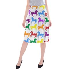 Colorful Horse Background Wallpaper Midi Beach Skirt