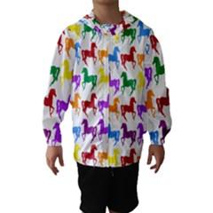 Colorful Horse Background Wallpaper Hooded Wind Breaker (Kids)