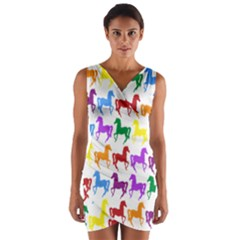 Colorful Horse Background Wallpaper Wrap Front Bodycon Dress