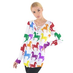 Colorful Horse Background Wallpaper Women s Tie Up Tee