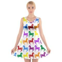 Colorful Horse Background Wallpaper V Neck Sleeveless Skater Dress